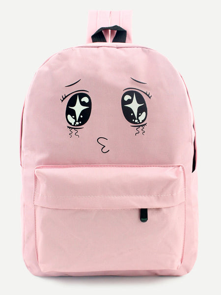 Eyes Print Front Zipper Nylon Backpack