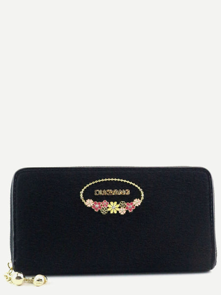 Black Metal Embellished Fuzzy Wallet