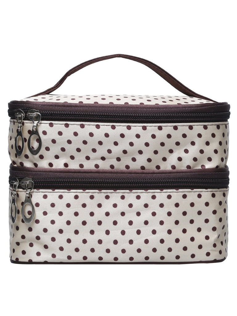 Beige Polka Dot Double Layers Cosmetic Bag