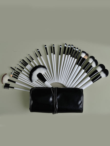 32pcs Brush For Face Make Up Tools With Black Leather Bag