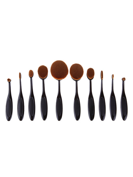 Black Oval Makeup Brush Set 10PCS