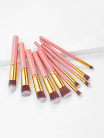 10PCS Pink Professional Makeup Brush Set