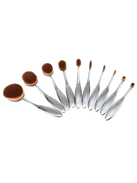 10PCS Silver Professional Toothbrush Makeup Brush Set