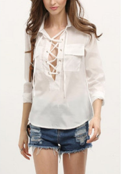 Deep-Plunge Neck Lace Up Pockets Blouse