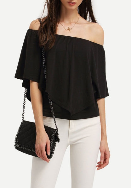 Off The Shoulder Ruffle Trim Blouse