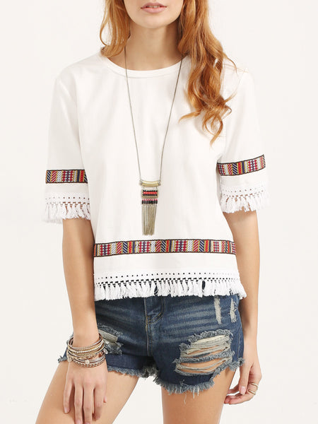 Vintage Embroidered Fringe Elbow Sleeve Blouse