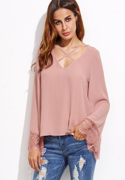 Crisscross V-Neckline Eyelash Lace Trim Top