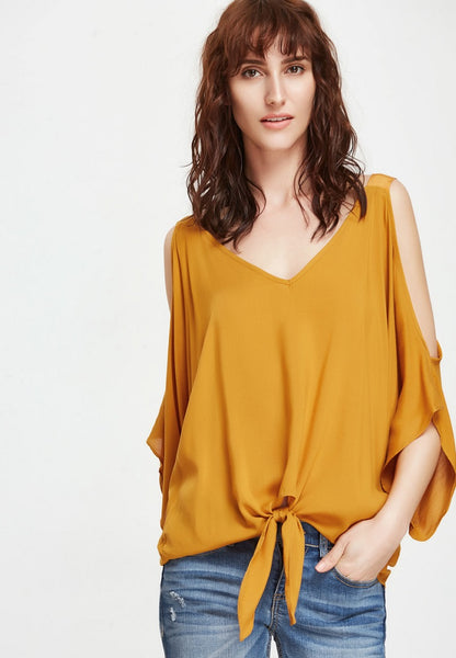 Mustard Open Shoulder V Neck Knot Front Blouse