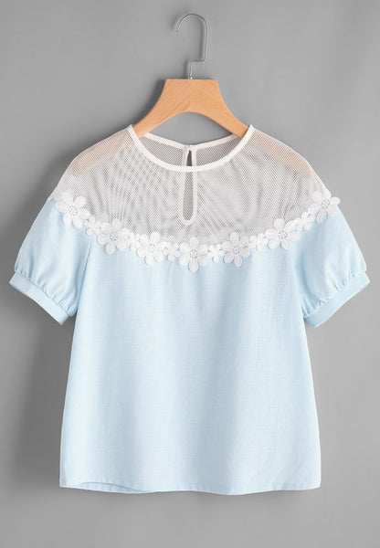 Lace Side Puff Sleeve Top