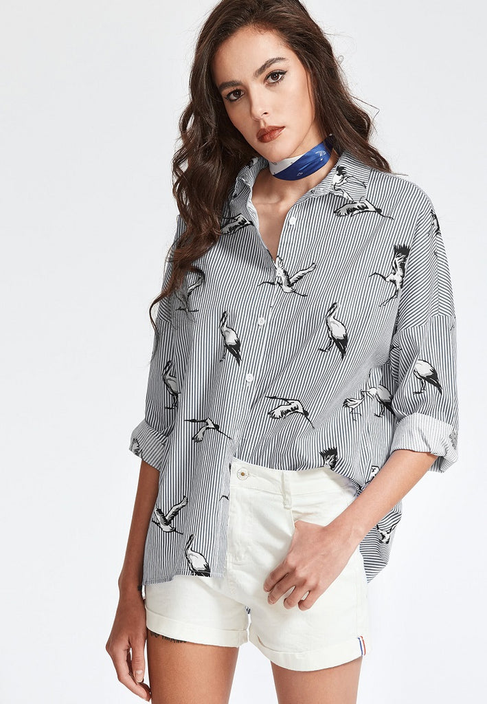 Grey Pinstripe Crane Print Drop Shoulder Shirt