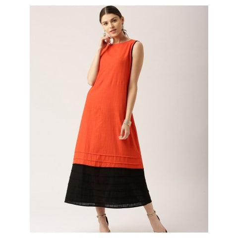 Orange And Black Self Woven Dress