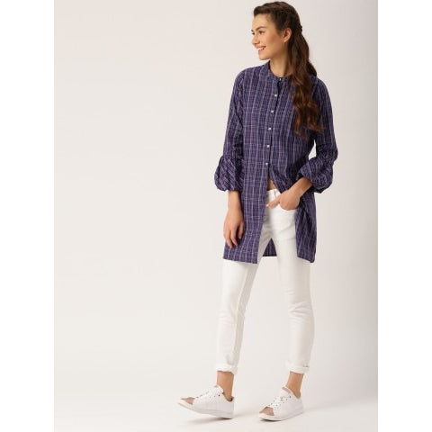 Women Blue Checks Shirt