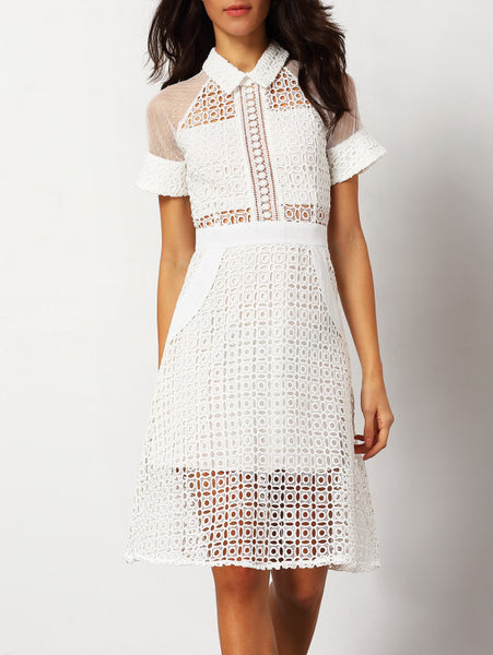 White Short Sleeve Hollow Sheer Dress