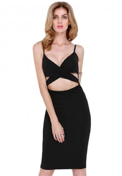 Surplice Plunging Neckline Cut Out Dress