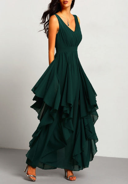 Plunging V-Neckline Maxi Chiffon Dress