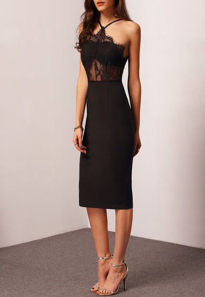 Halter Contrast Lace Sheath Dress