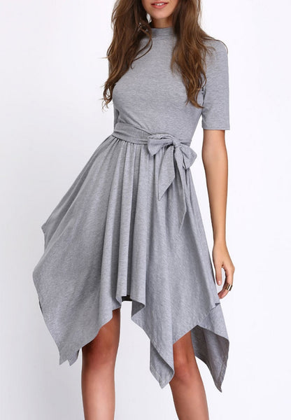 Grey Self-Tie Waist Asymmetric Hem Shift Dress