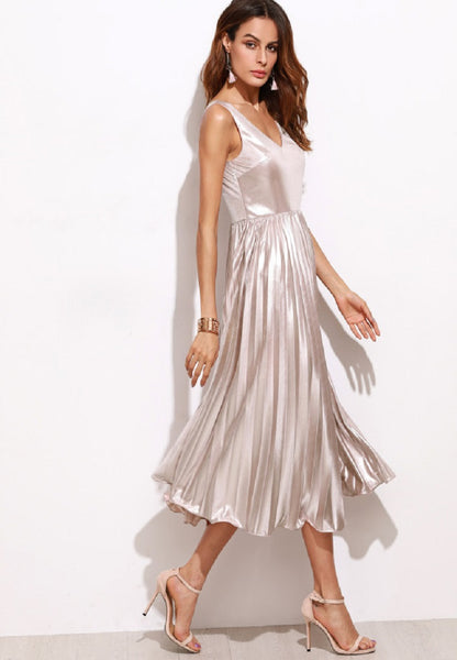 Metallic Pink Pleated Dress