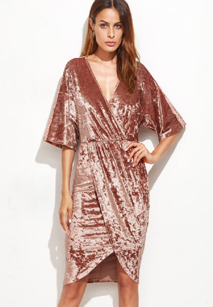 Brown Surplice Wrap Velvet Dress