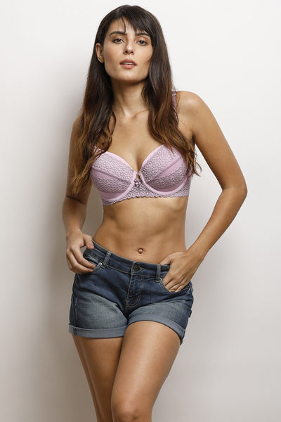 Zivame Moroccan Lace Pretty Back Underwired Bra- Lilac