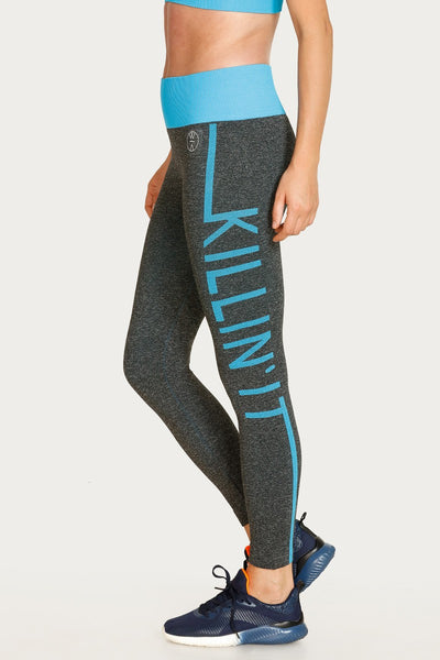 Zivame Skin Fit Seamless Leggin - Blue N Grey