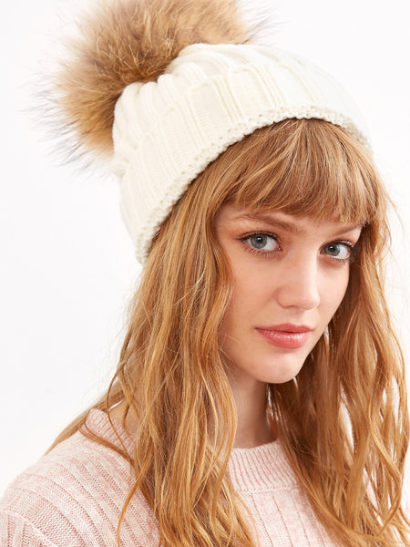 White Ribbed Detachable Pom Pom Hat