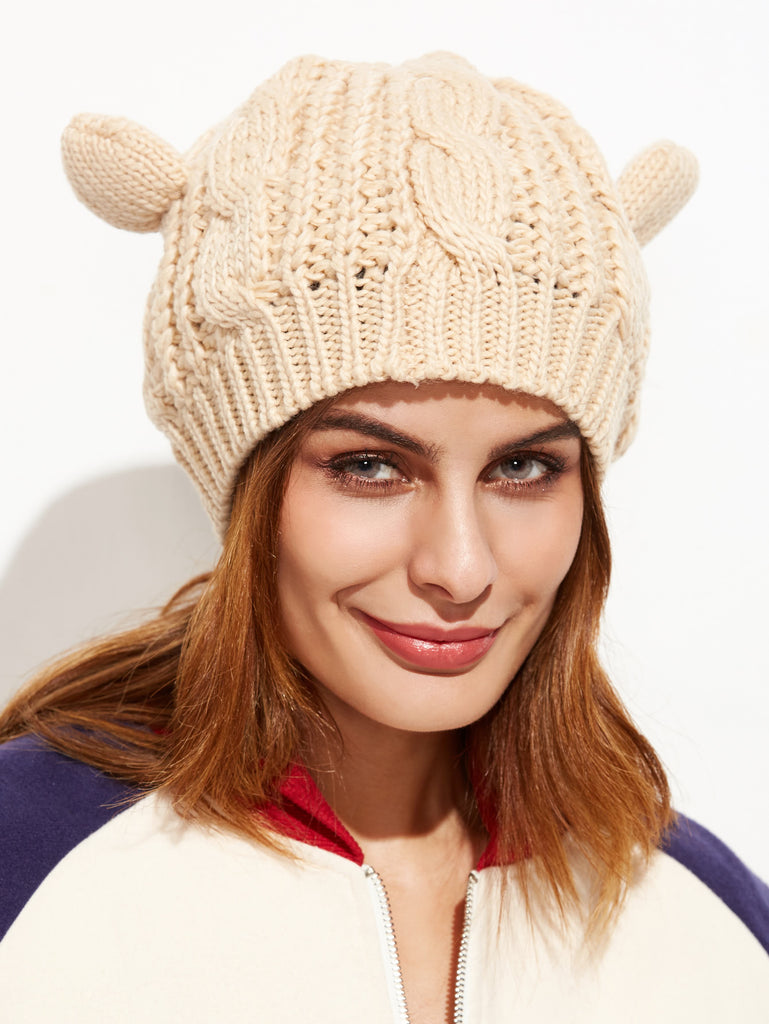 Beige Cat Ear Knit Hat