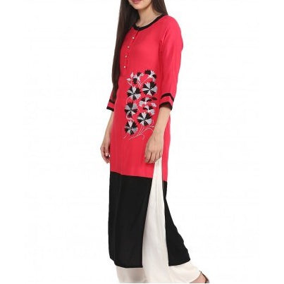 Peach & Black Embroidered Kurta with Palazzo Trousers