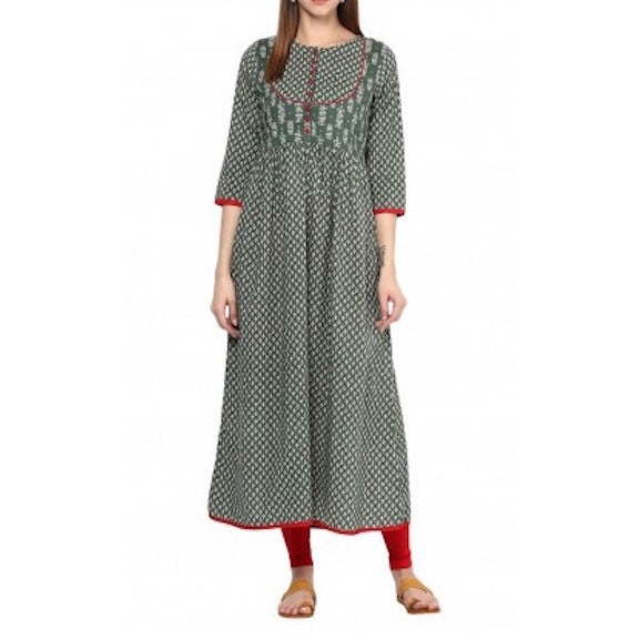 Block Print Green Colour Tunic Dress