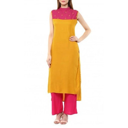 Yellow Kurta With Rani Rayon Palazzo Pants