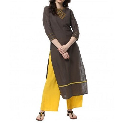 Grey Color Kurta And Yellow Palazzo Set
