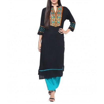 Rayon Black & Turquoise Embroidered Kurta and Palazzo Set