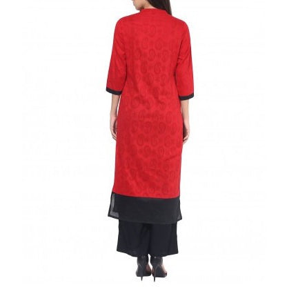 Jacquard Cotton Red & Black Self Design Kurta and Palazzo Set