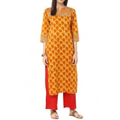 Mustard & Red Printed Kurta with Palazzo Trousers