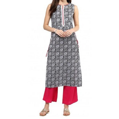 Black Block Print Kurta With Rani Palazzo Set