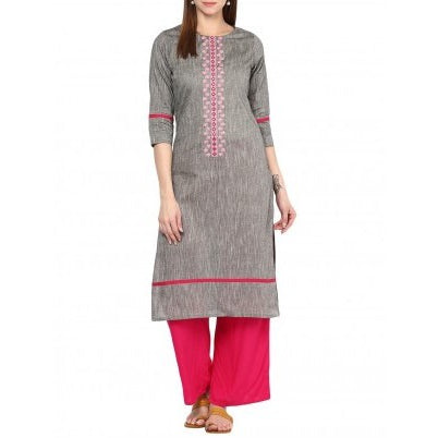 South Cotton Gray Embroidery Kurta With Rani Pink Palazzo Set