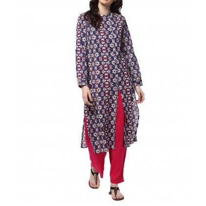 Cotton Blue Color Kurta And Rani Palazzo Set