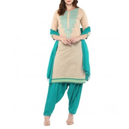 South Cotton Cream Embroidery Kurta With Sea Green Patiala Dupatta Suit Set
