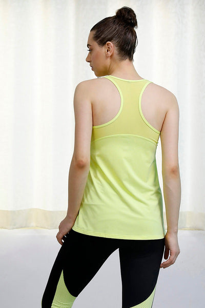 Zivame Pop Fresh Racerback Tank Top- Neon Yellow