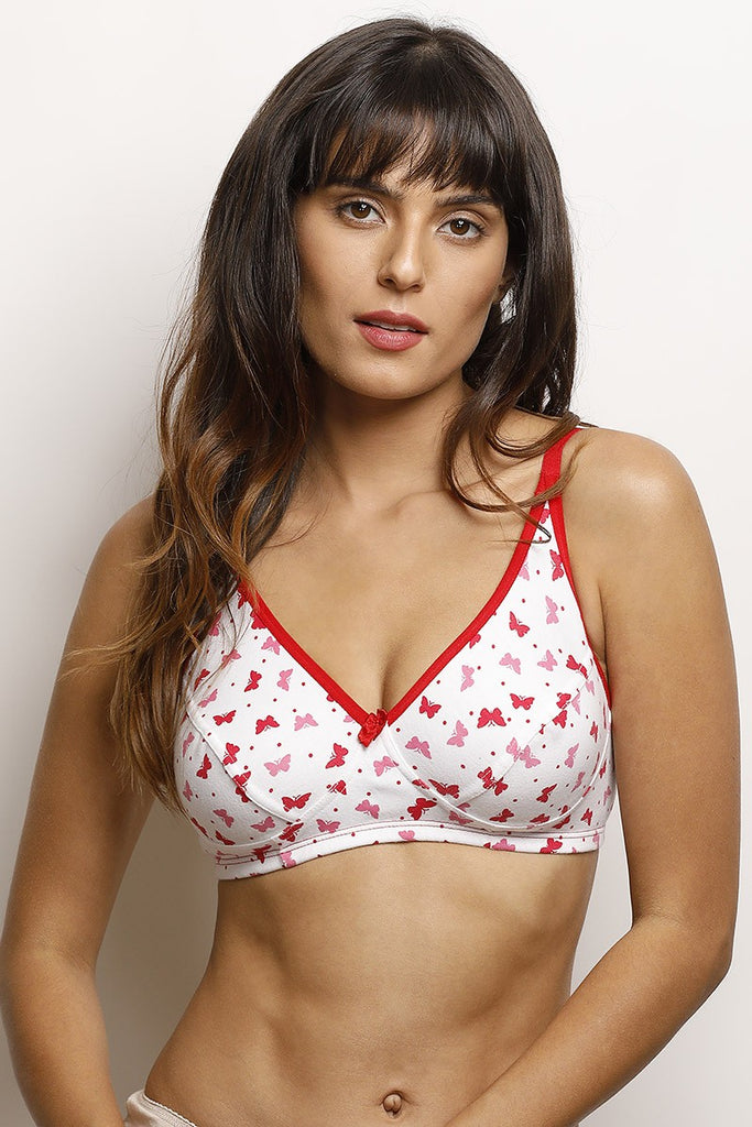 Zivame Cotton Rich Printed Wirefree Bra- White N Red
