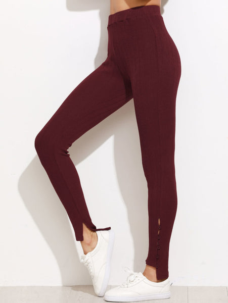High Waist Buttoned Hem Ribbed Leggings
