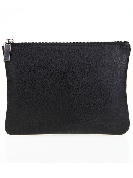 Embossed Black Makeup Bag