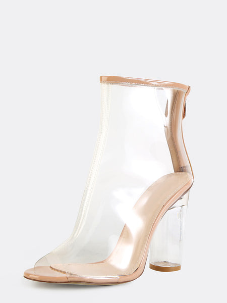Peep Toe Crystal Heel Transparent Ankle Boots