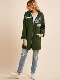Green Flocked Patch Zipper Coat