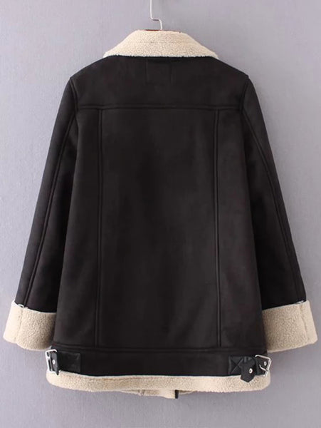 Black Oblique Zipper Suede Coat