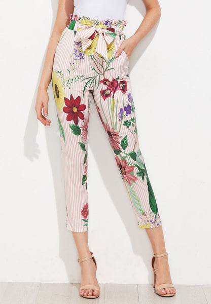 Ruffle Waist Self Belt Mixed Print Pants