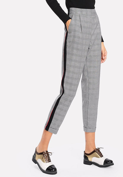 Contrast Tape Plaid Crop Pants