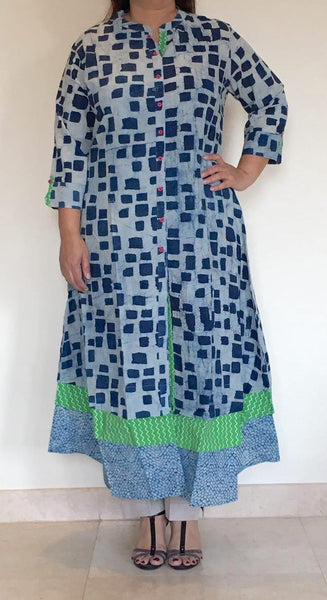 Indigo multiple hem tunic