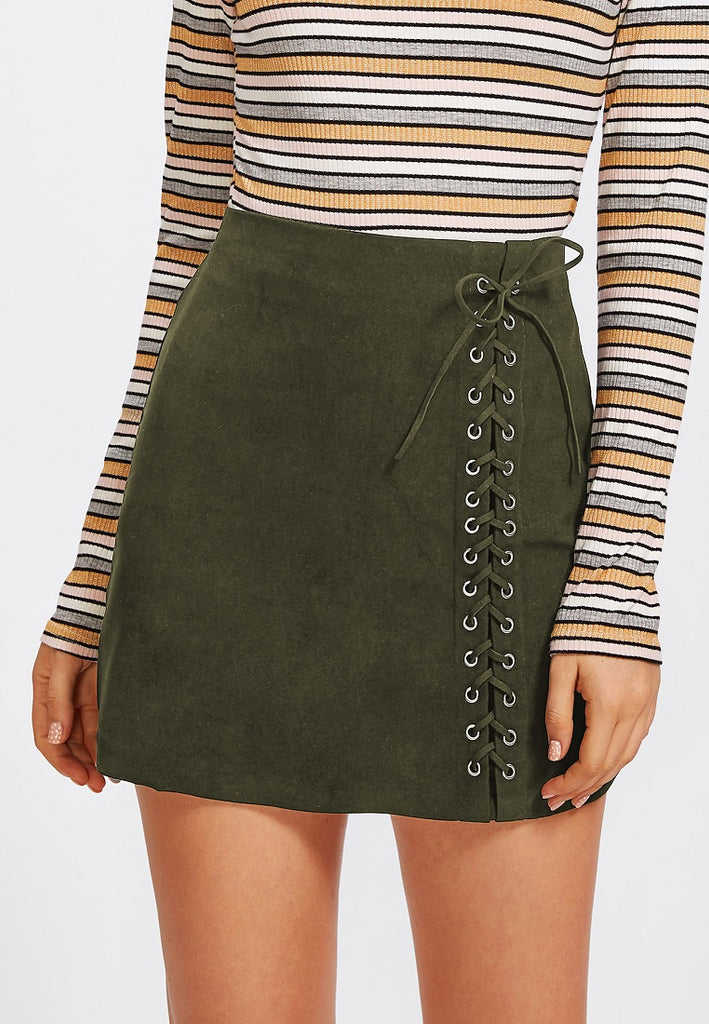 Lace Up Detail Skirt