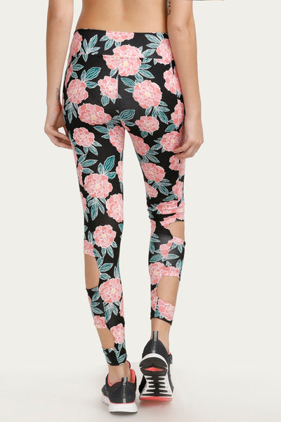 Zivame Printed Leggings- Black N Floral Print